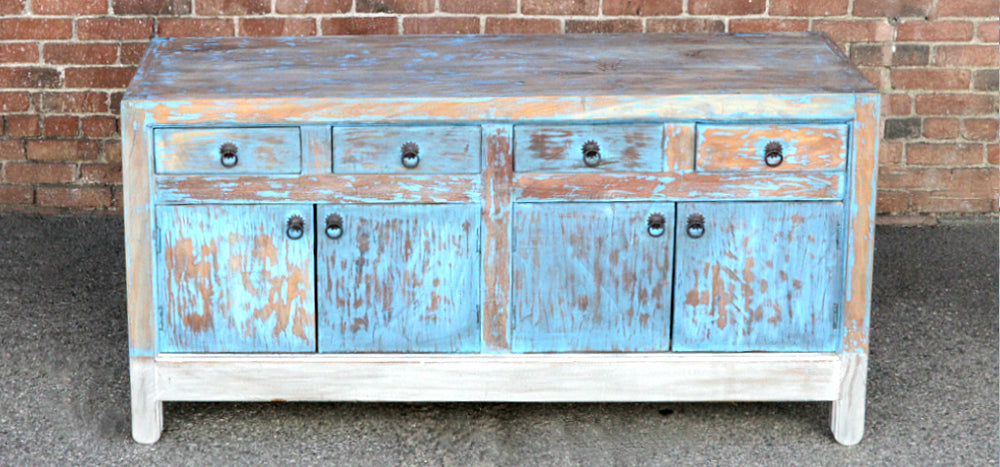 Silver & Blue Distressed Shanxi Sideboard