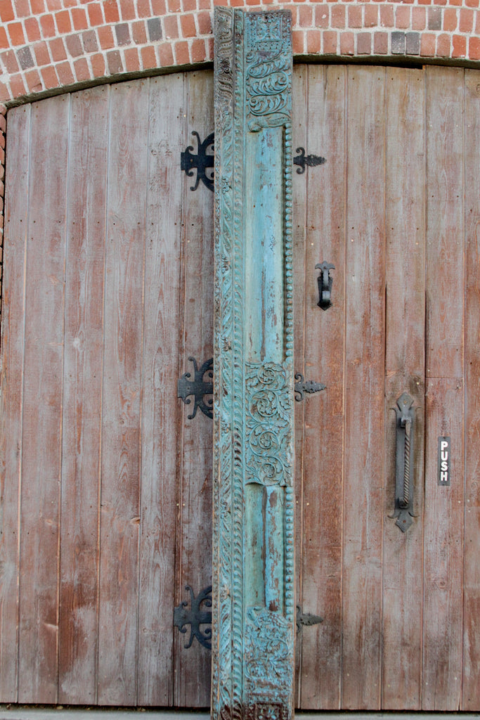Antique Architectural Carved Turquoise Beam