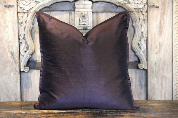 Dark Small Dupion Silk Pillow