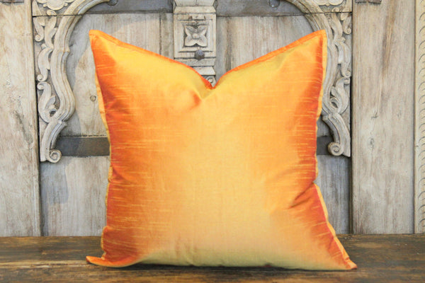 Orange Small Dupion Silk Pillow