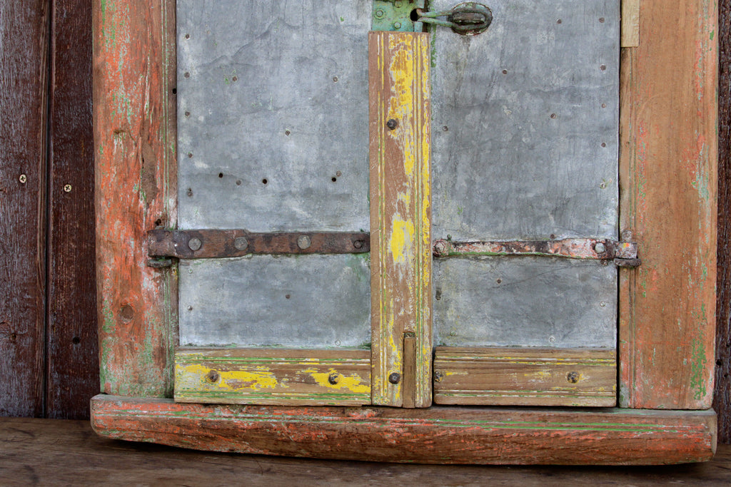 Antique Folk Zinc Window Mirror