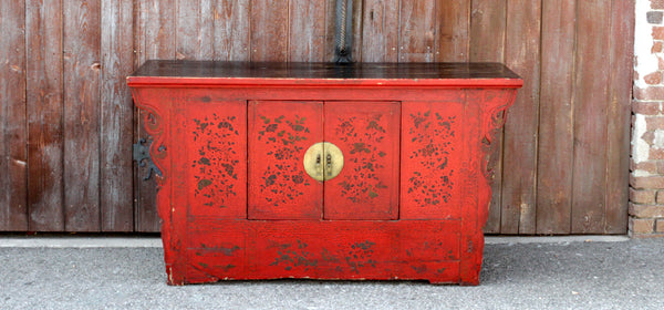 Red Chinoiserie Lacquer Cabinet