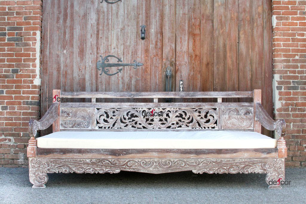 Whitewashed Carved Dee Opium Teak Daybed
