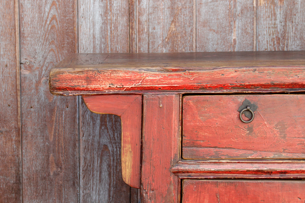 Long Red Lacquered Farmhouse Sideboard
