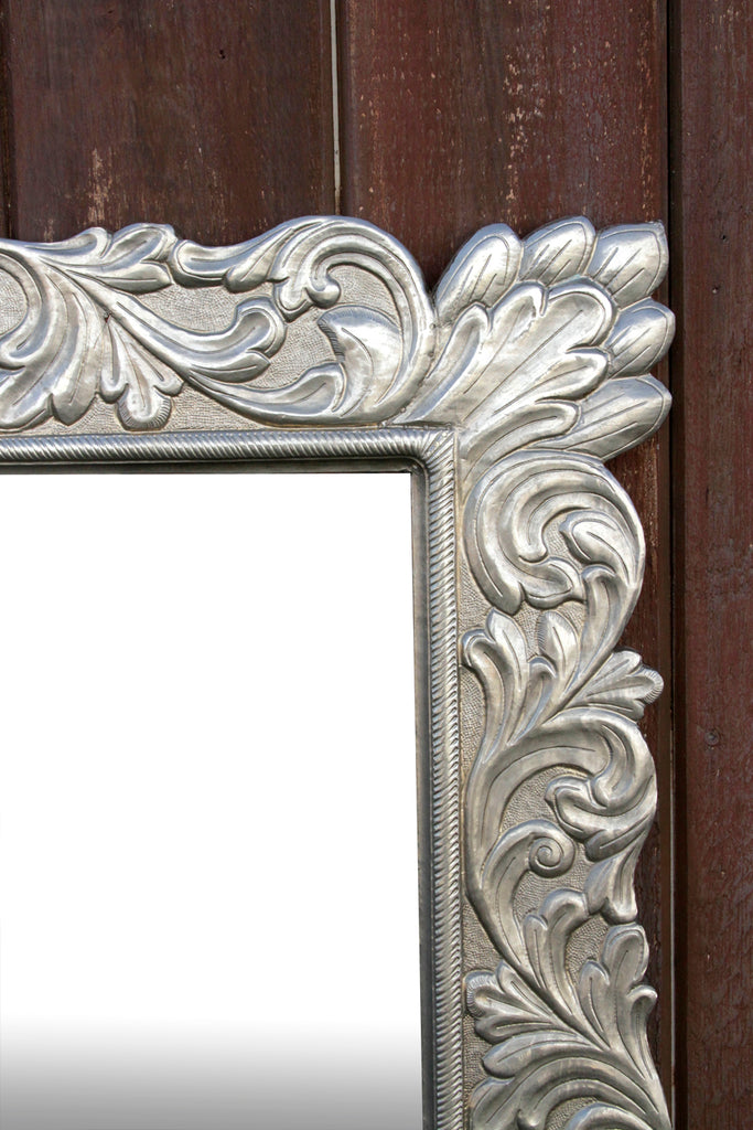 Renaissance Carved Silver Mirror