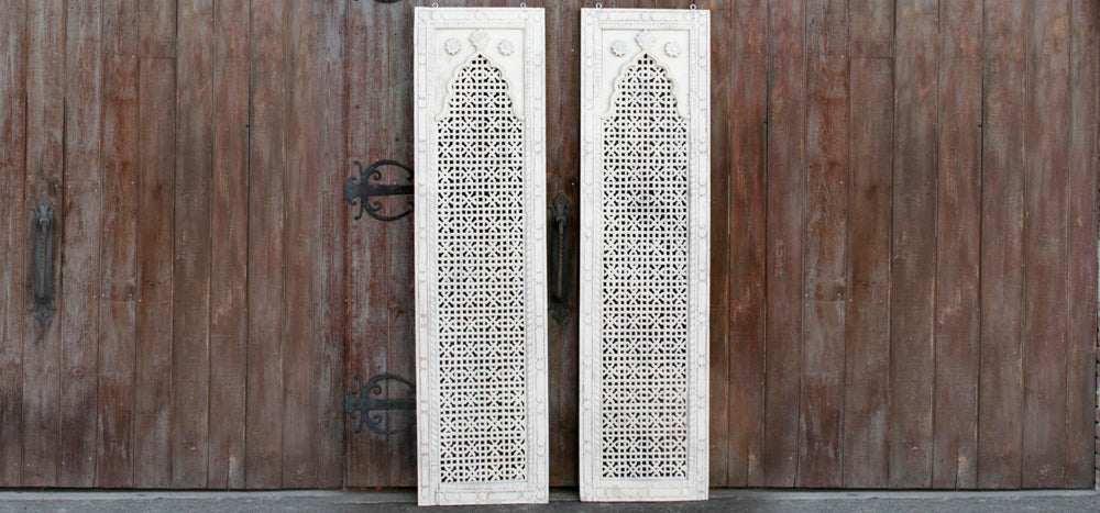 White Mihrab Carved Panel