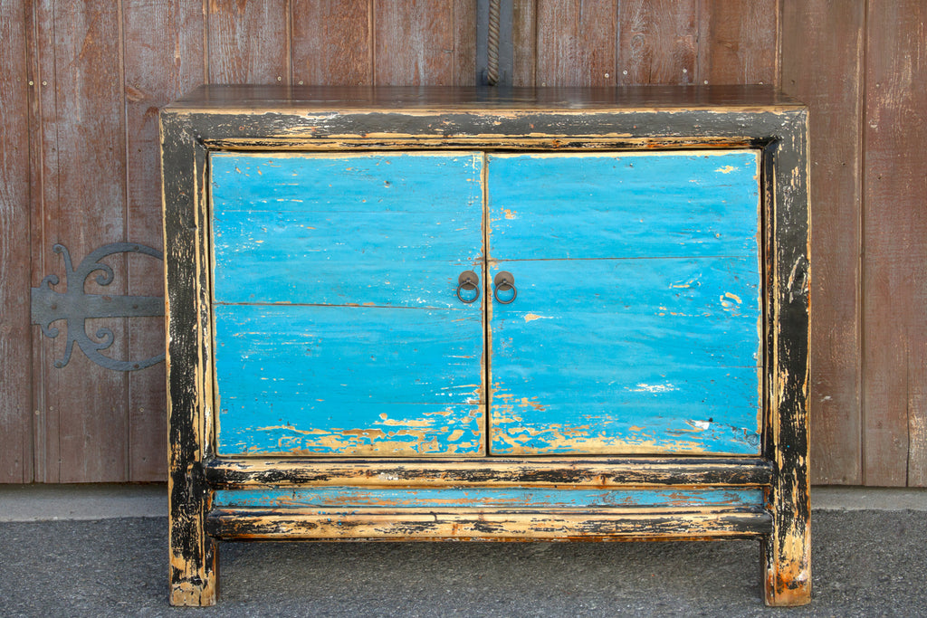 Painted Blue Asian Cabinet