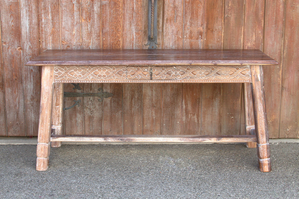 Liming White Carved Tavern Table