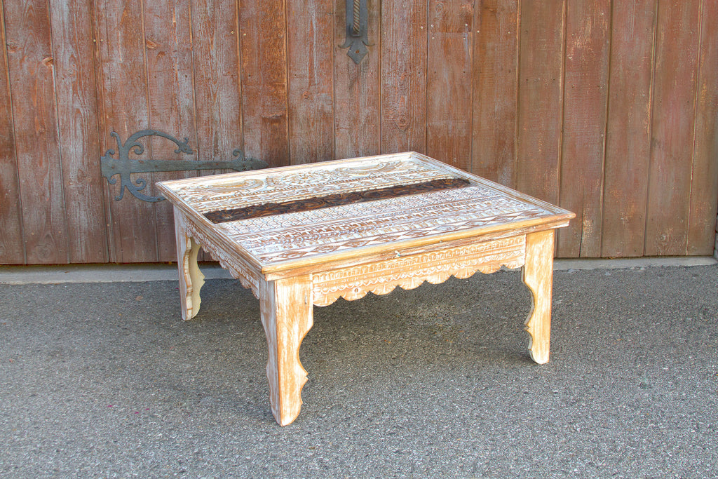 Vintage Mandawa Carved Top Coffee Table