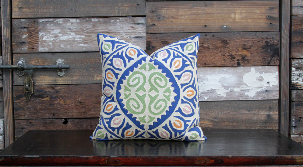Blue Jogi Rali Applique Pillow Cover