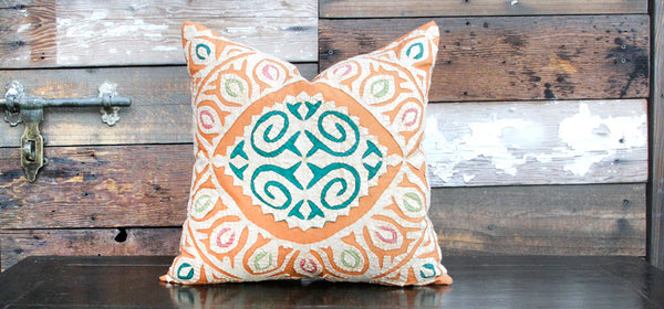 Orange Jogi Rali Applique Pillow Cover