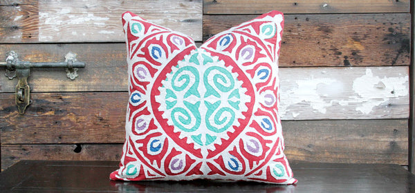 Red Jogi Rali Applique Pillow Cover