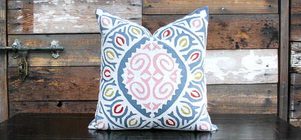 Grey Blue Jogi Rali Applique Pillow Cover