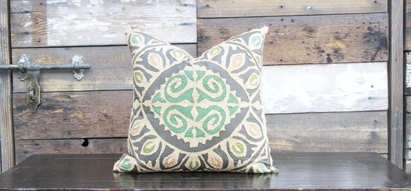 Grey Jogi Rali Applique Pillow Cover