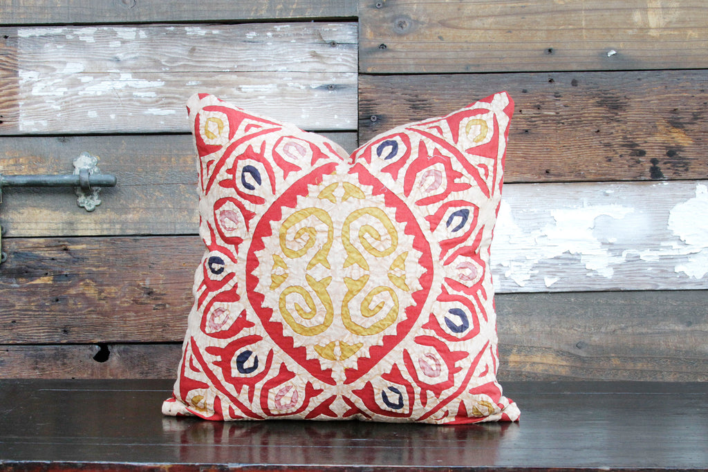 Bold Red Jogi Rali Applique Pillow Cover