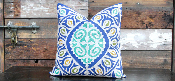 Bold Blue Jogi Rali Applique Pillow Cover