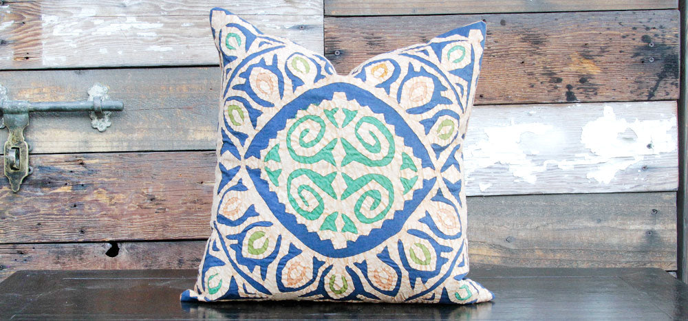 Distressed Blue Jogi Rali Applique Pillow Cover