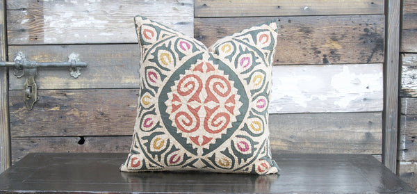 Olive Jogi Rali Applique Pillow Cover