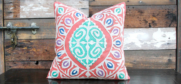 Faded Red Jogi Rali Applique Pillow Cover