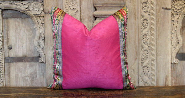 Small Flower Chain Pink Heritage Silk Pillow