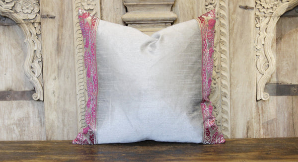 Small Peacock Gray Heritage Silk Pillow