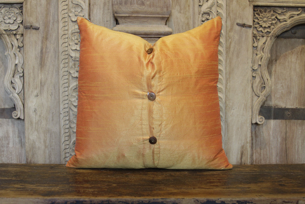 Small Diamond Orange Heritage Silk Pillow