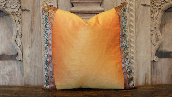 Small Vine Orange Heritage Silk Pillow