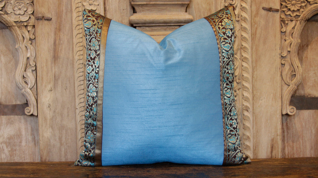 Small Floral Blue Heritage Silk Pillow