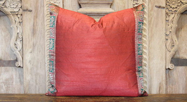 Small Animal Red Heritage Silk Pillow