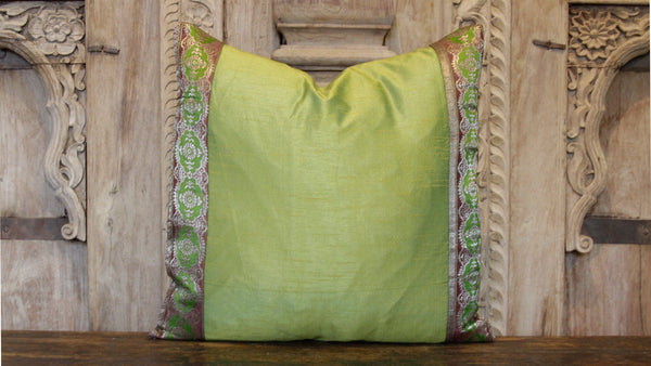 Small Mandala Green Heritage Silk Pillow