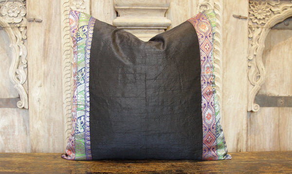 Small Vintage Lace Ebony Heritage Silk Pillow