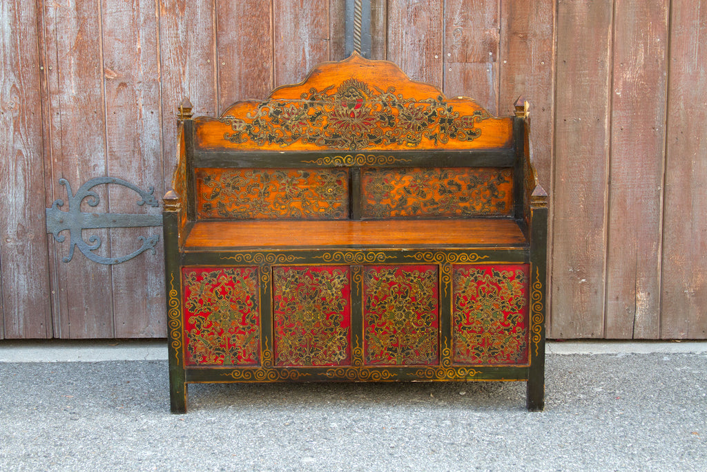 Antique Tibetan Hand Painted Bench
