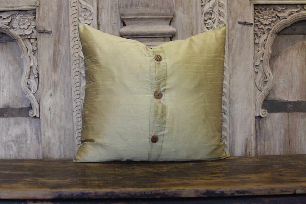 Small Acanthus Yellow Heritage Silk Pillow