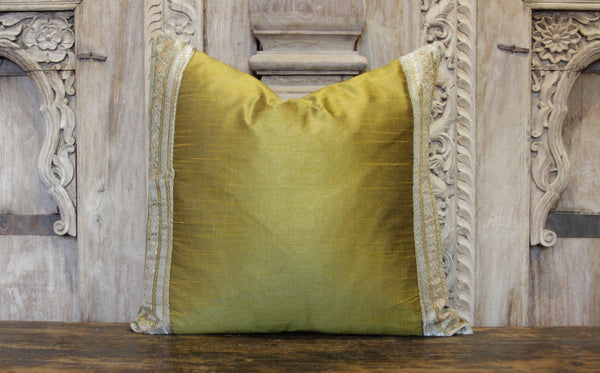 Small Floral Yellow Heritage Silk Pillow