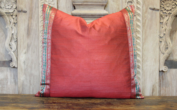 Small Stripe Red Heritage Silk Pillow