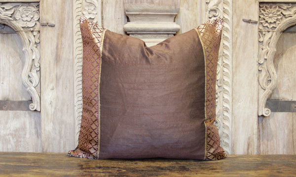 Small Elegant Brown Heritage Silk Pillow