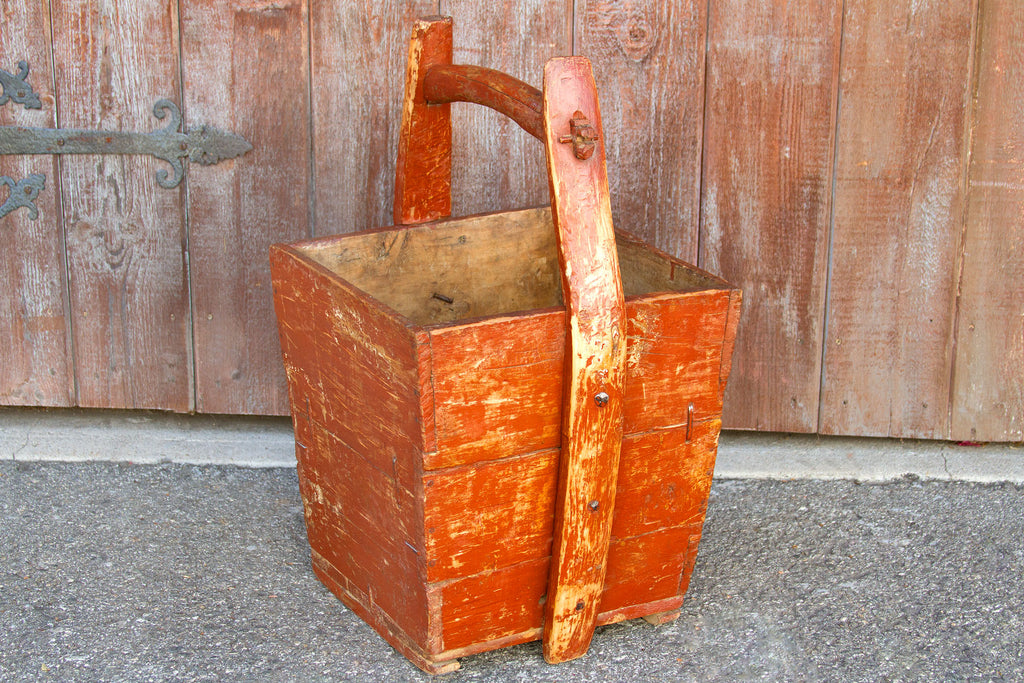 Red Chinese Wooden Basket