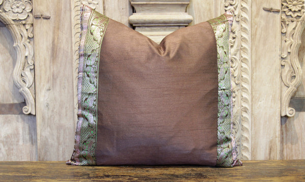 Small Vintage Brown Heritage Silk Pillow
