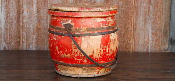 Aged Red Asian Food Container