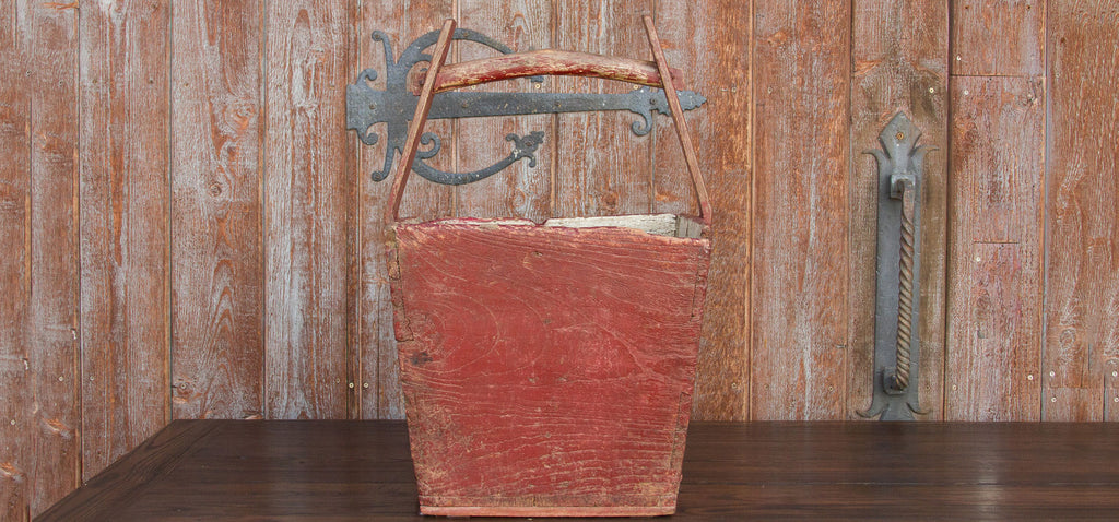 Red Lacquered Antique Basket