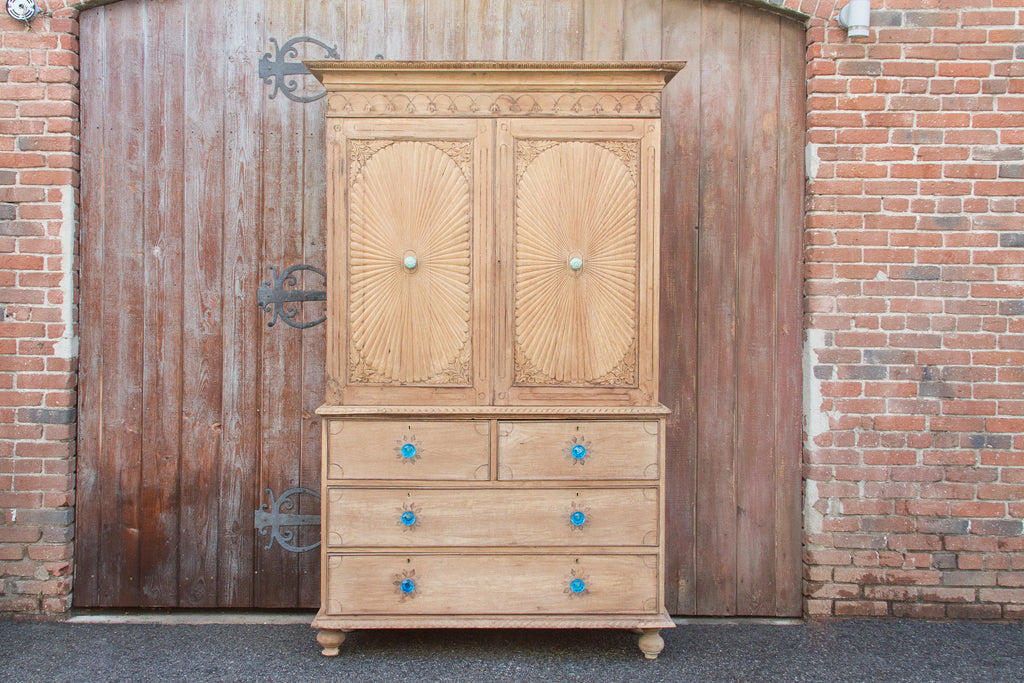 Circa 1850 Anglo Indian Sunburst Tall Linen Press