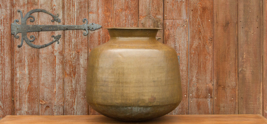 Antique Buttermilk Brass Pot