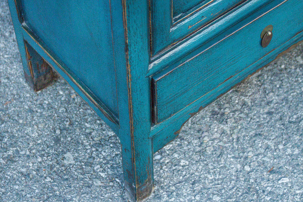 Vivid Teal Blue Tall Cabinet