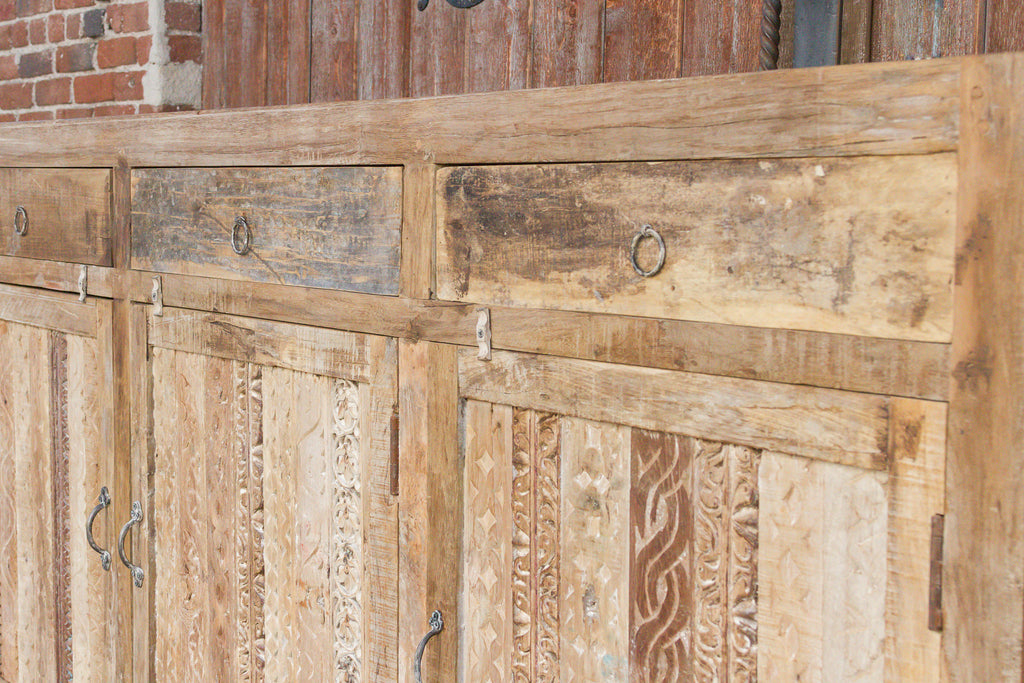 Rustic Carved Front Moorish Sideboard