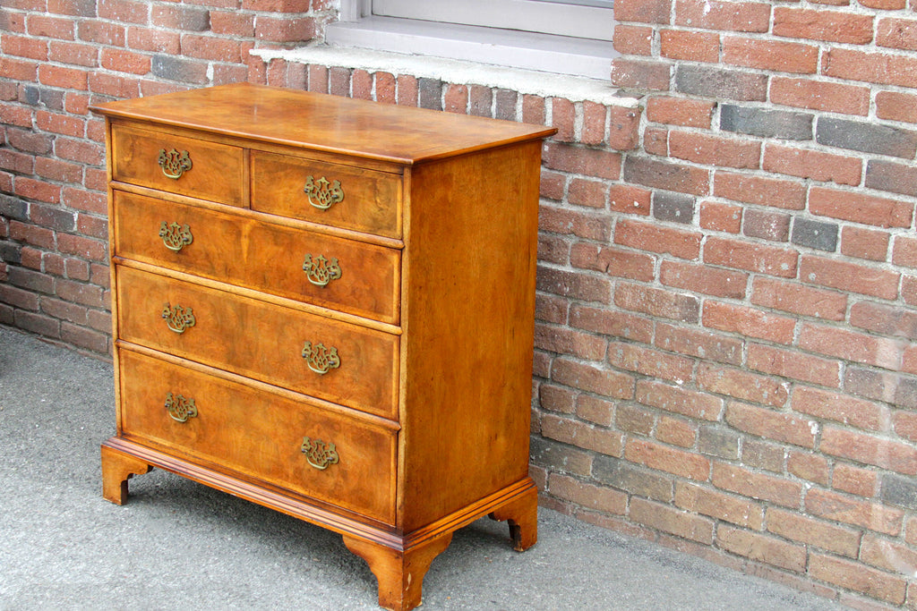 English Burr Walnut Chest Of Drawers