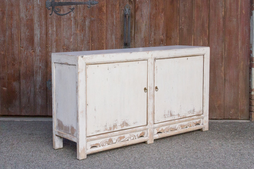 Aged White Farmhouse Style Cabinet