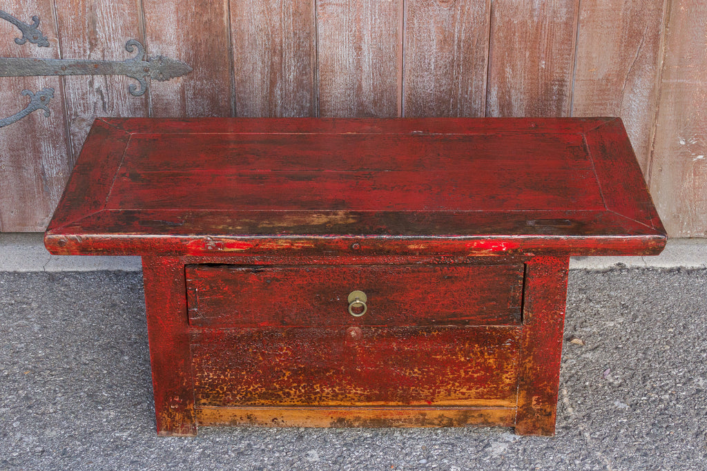 Antique Cadmium Red Altar Table