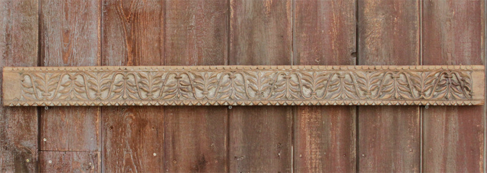 Aged Leaf Motif Carved Panel