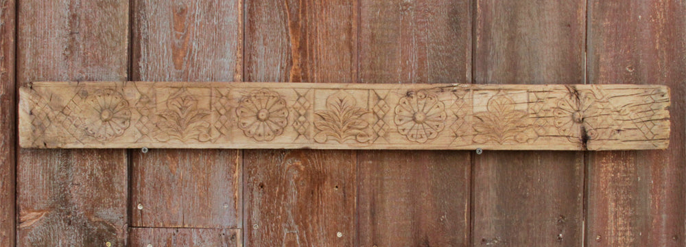 Geometric Marigold Wooden Carved Panel