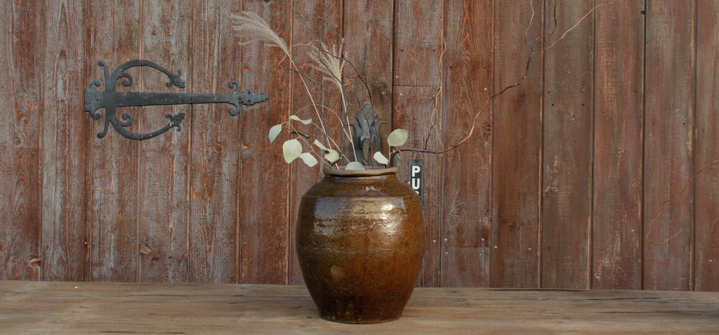 Antique Golden Brown Martaban Jar